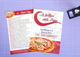 Grafica, stampa e realizzazione volantino per Pizzeria La Bottega della Pizza a 4/4 colori su carta patinata opaca