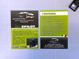 Grafica, stampa e realizzazione volantino per Autofficina Bozzolan a 4/4 colori su carta patinata opaca