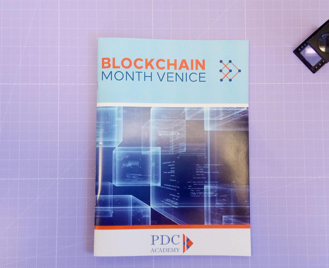 Grafica stampa realizzazione Quaderni appunti Blockchain Month Venice in formato A4 rilegati a punto metallico