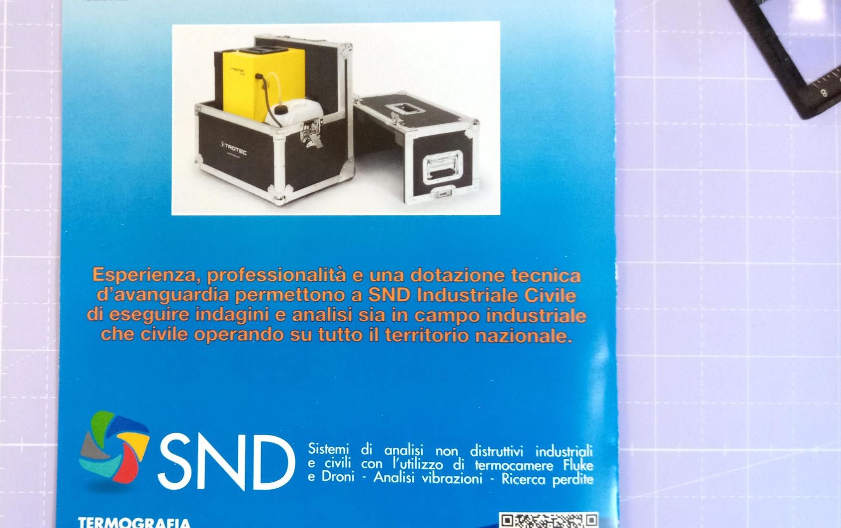particolare del retro volantino SND Industrial e Civile