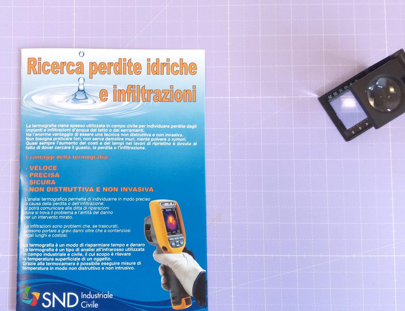 Grafica, stampa e realizzazione Volantino SND Industriale e Civile a 4/4 colori su carta patinata opaca con piega a 4no