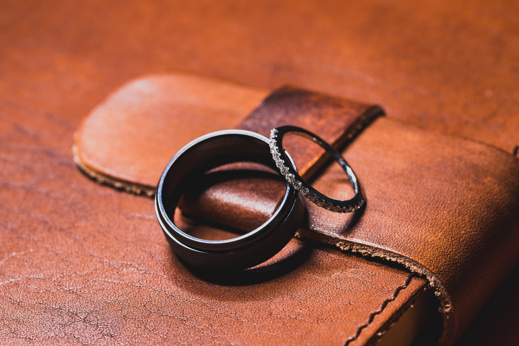 Wedding bands on a journal