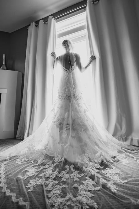 Bridal portrait in the window