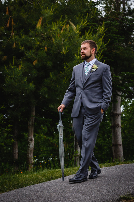 Groom walking to the ceremony