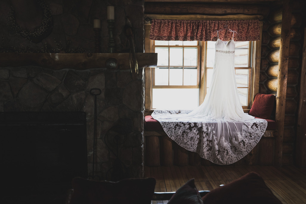 Bridal gown in a window