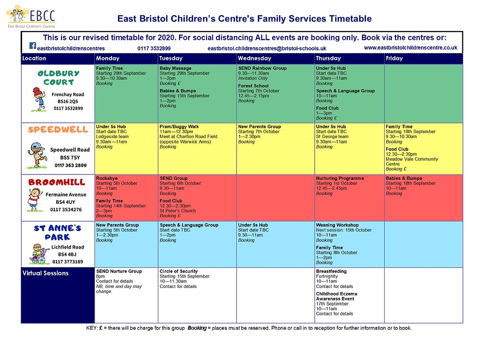 EBCC NEW 2020 Timetable - updated 21.09.