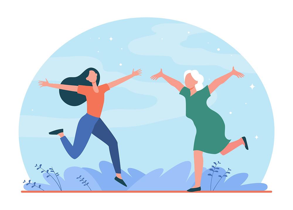 נשים רצות אחת לקראת השנייה