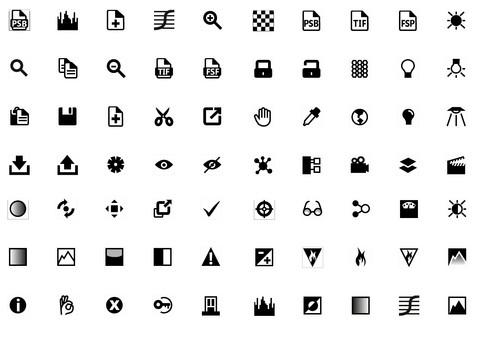 Iconografía para sofware de diseño