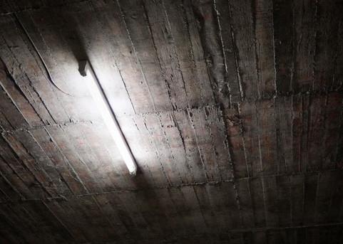fluorescent lamp and bare concrete ceiling