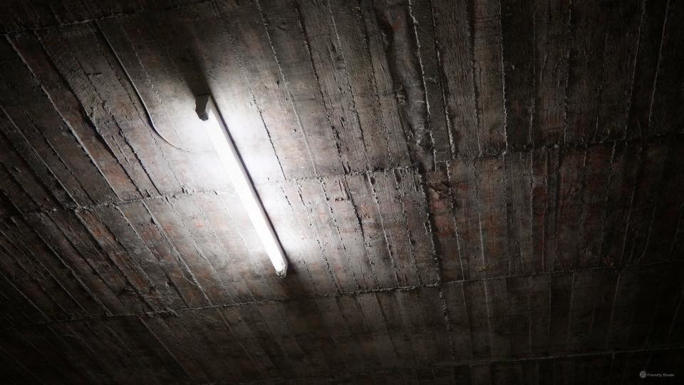 fluorescent lamp and bare concrete ceiling