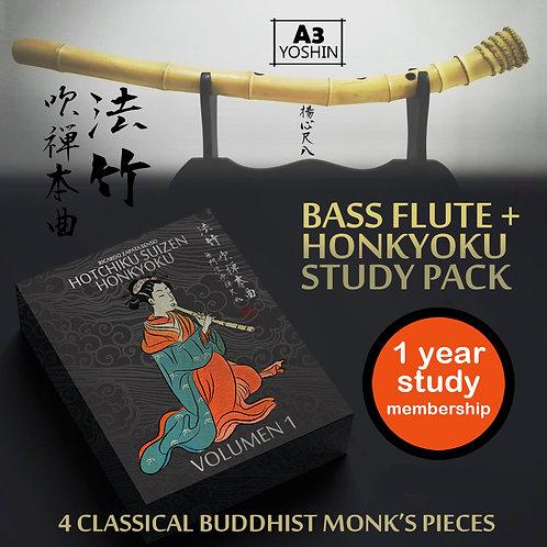 Guia de estudio y Flauta bajo A3 Hotchiku Suizen Honkyoku