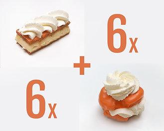 6x Oranje Tompouzen+ 6x Oranje Moorkoppen