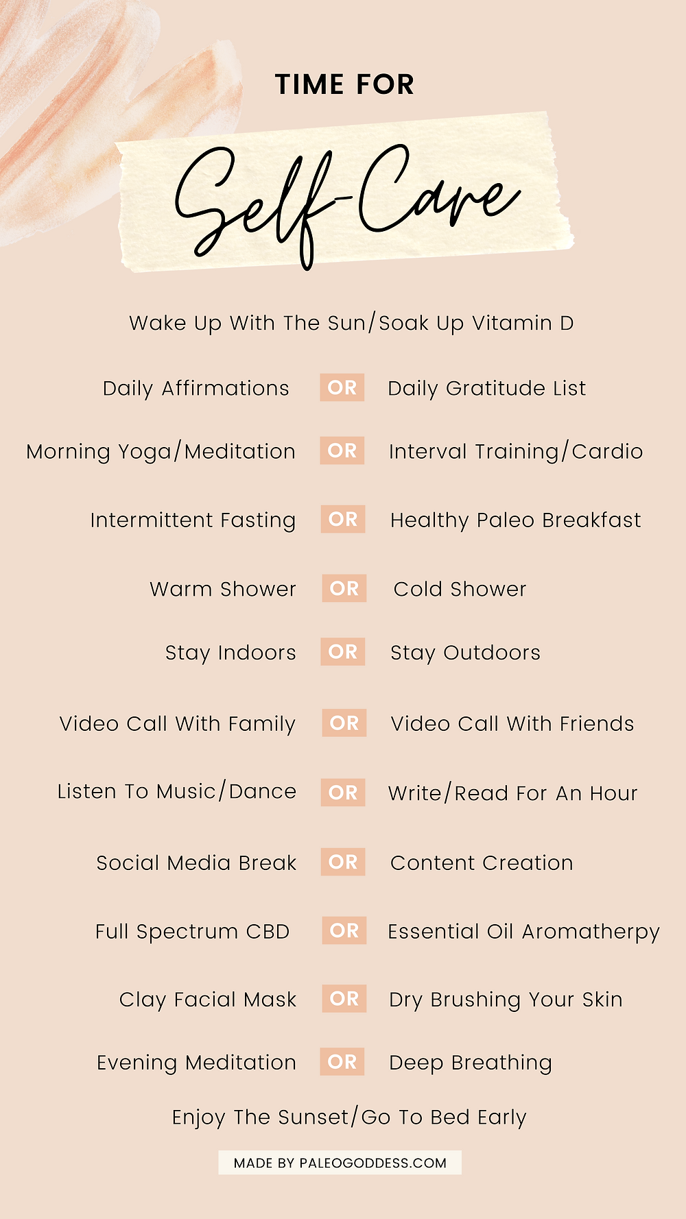 30 Self Care Ideas Print Out Sheet