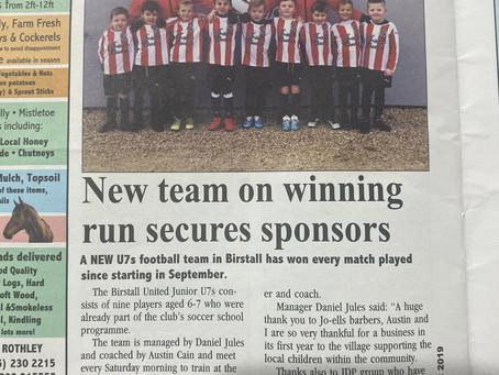 We sponsored the Birstall Utd Juniors Football Club!