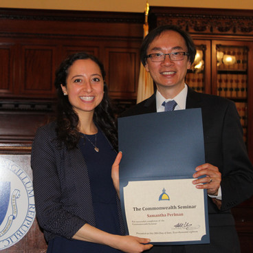 Samantha graduating from the Commonwealth Seminar with Executive Director Leverett Wing.