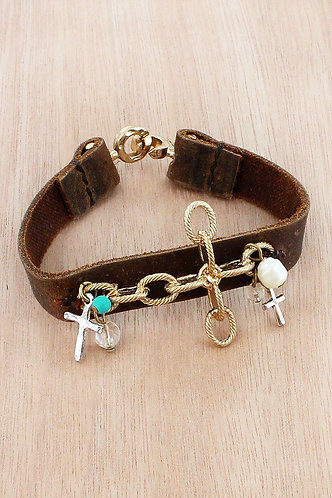 Brown Faux Leather Bracelet