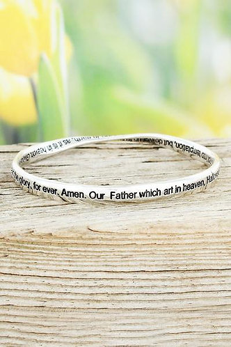 Lord's Prayer Silvertone Twist Bangle