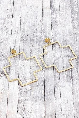 Worn Goldtone Square Cross Drop Stud Earrings