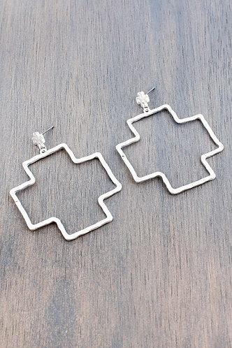 Worn Silvertone Square Cross Drop Stud Earrings