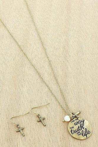 "Worn Goldtone 'I am the way"" Necklace and earring set"
