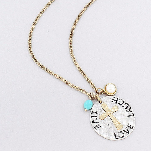 Cross & 'Live, Laugh, Love' Disk Pendent Necklace