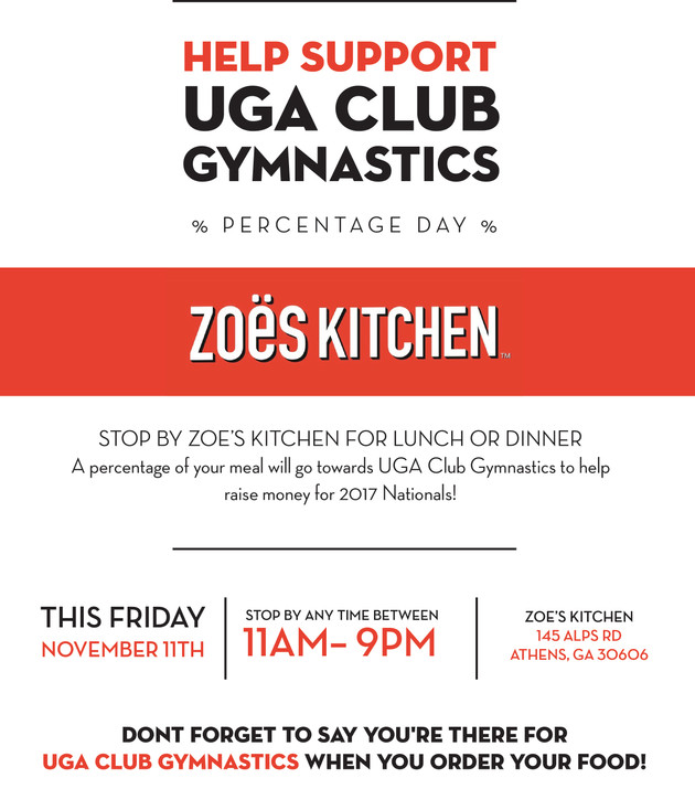 Zoe\'s Kitchen Percentage Day! | uga-club-gymnastics