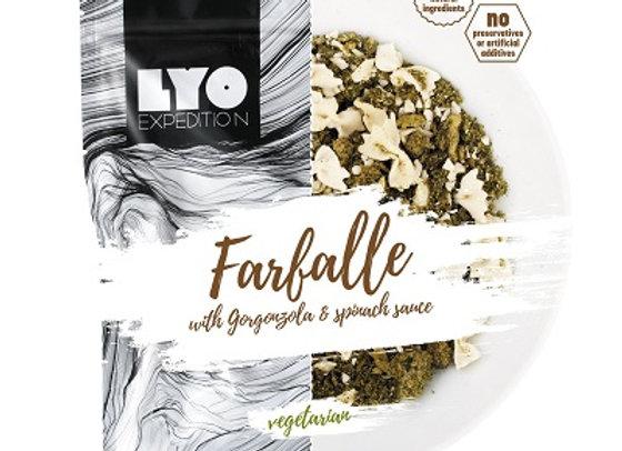 Lyo Farfalle med gorgonzola- og spinatsauce