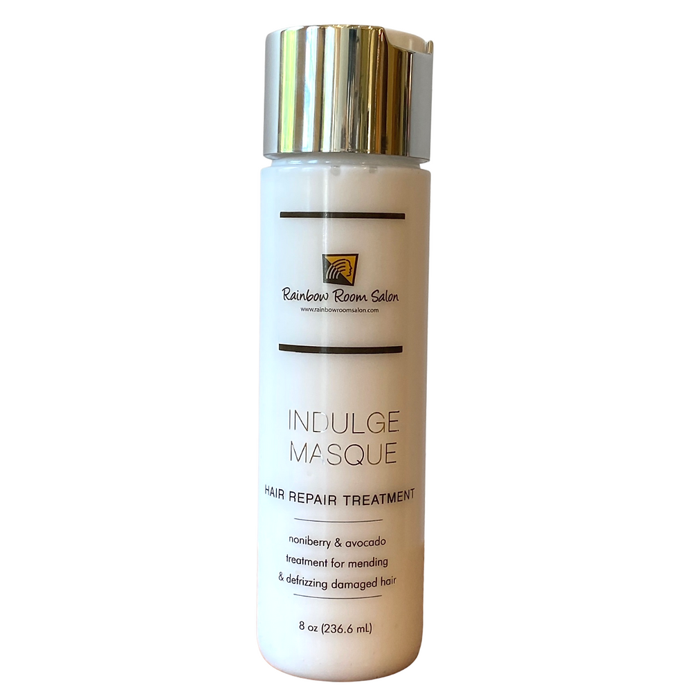 rainbow room salon Westlake Ohio. Indulge hair masque hair repair treatment. Nonibery and avocado treatment for mending and defrizzing damaged hair.
