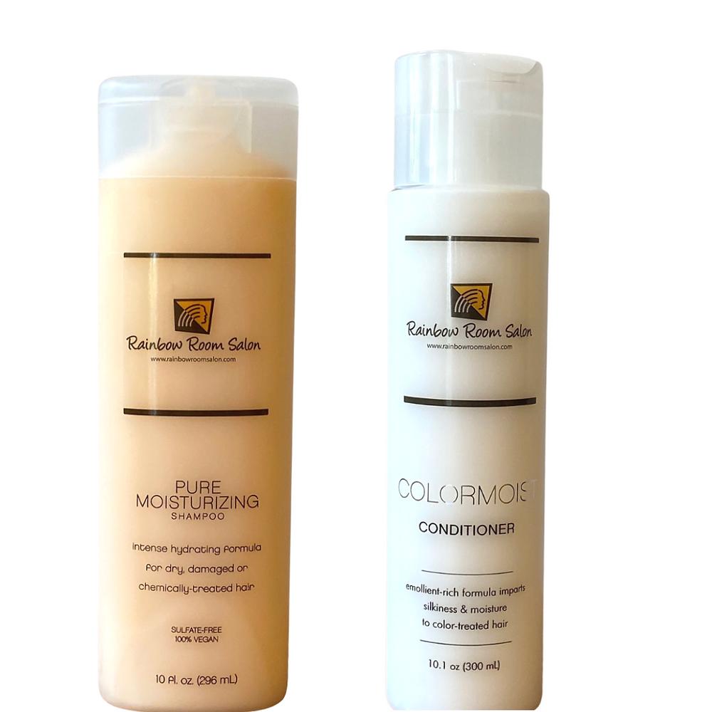rainbow room salon shampoo and conditioner. sulfite free, vegan. moisturizing. instense hydrating shampoo formula for dry, damaged or chemically treated hair.