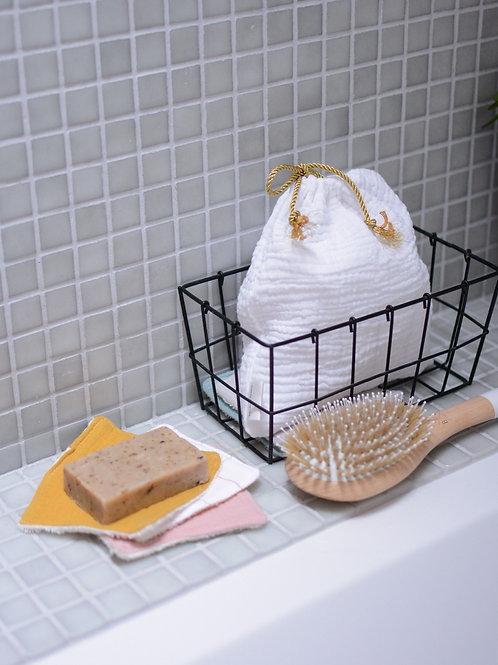Pochette de lingettes démaquillantes carrées, lavables
