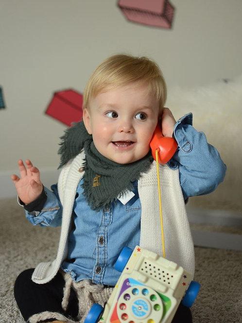 Chèche bébé et enfant en gaze de coton, frangé, 12 coloris