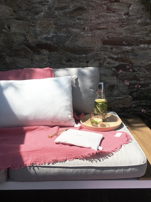 Coussin taille médium en gaze de coton gaufrée, 40x65 cm, 10 coloris
