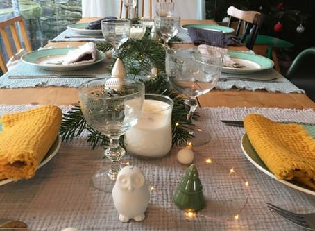 Une jolie table végétale pour les fêtes.