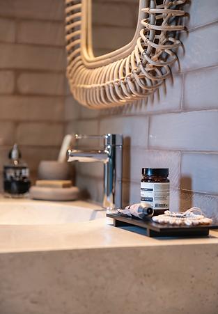 Détail salle de bain, stylisme photo, chambre d'hôtes à Nice