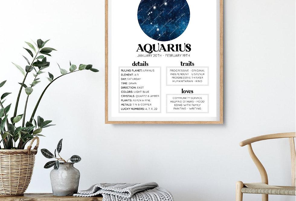 AQUARIUS | ASTROLOGY DIGITAL ARTWORK