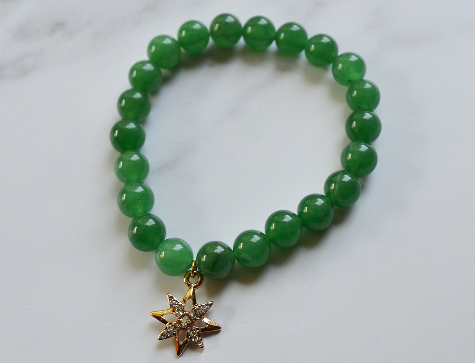 ATLAS BRACELET // Crystal Bead Bracelet with Gold North Star Charm