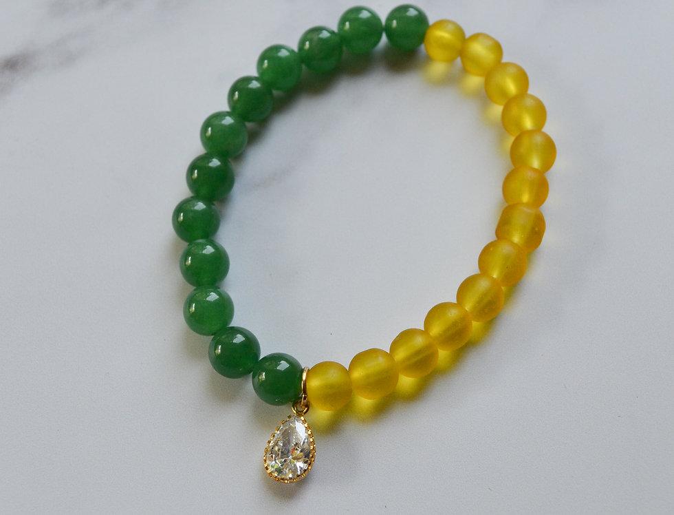 ATLAS BRACELET // Glass/Crystal Bead Bracelet with Gold Cubic Zirconia Charm