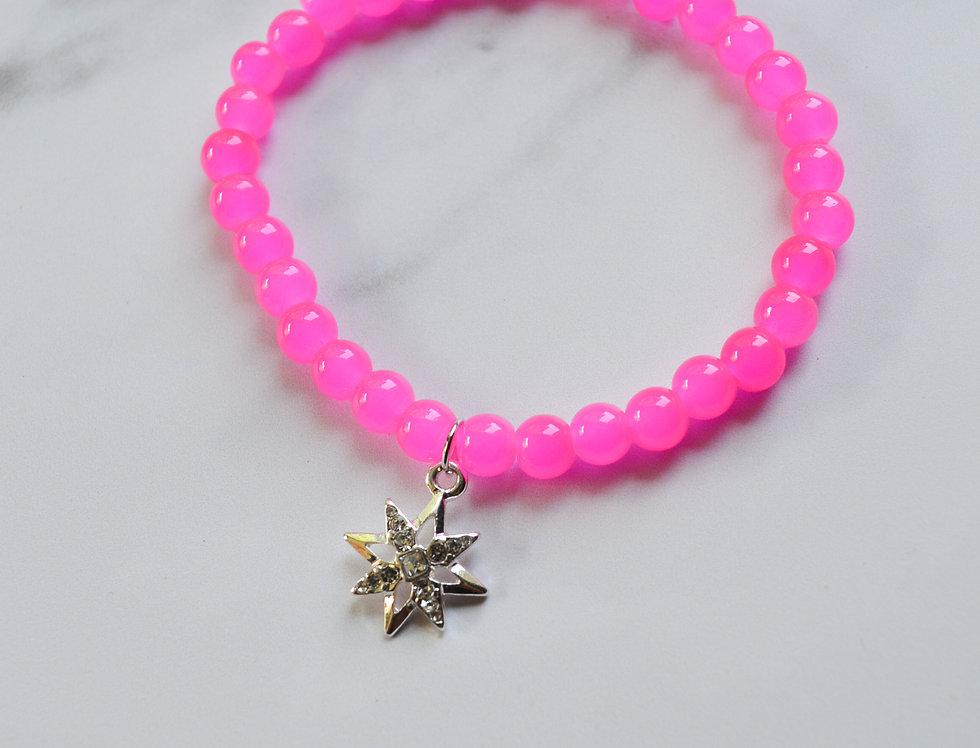 ATLAS BRACELET // Glass Bead Bracelet with Silver North Star Charm