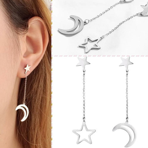 Aretes Moon and star