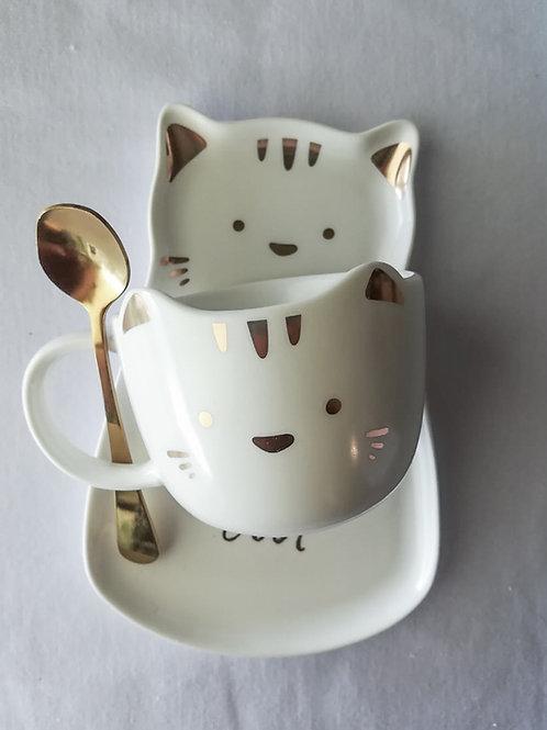 Set de vaso y platito kitten