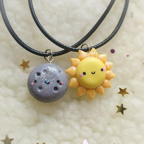 Collares de pareja sol y luna