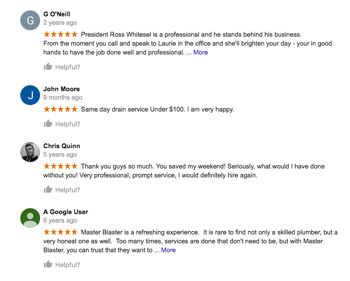 Master Blaster Plumber & Drain Google Reviews