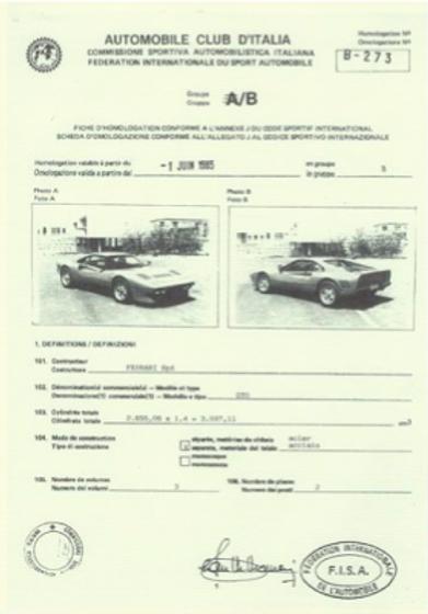 Dossier Homologation 288 GTO Groupe B
