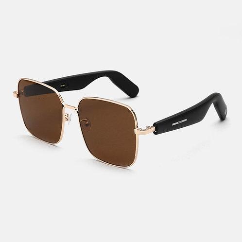 WGP Smart Audio Sunglasses - Metal Square Nylon Lens - Dark Brown(2nd Gen)