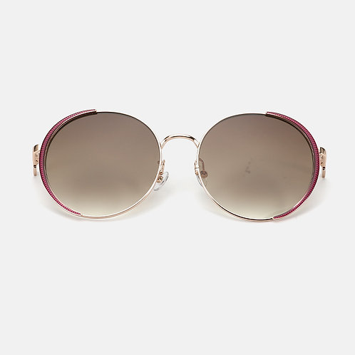 Rose Gold Round Frame- Nylon Lens - Dark Brown