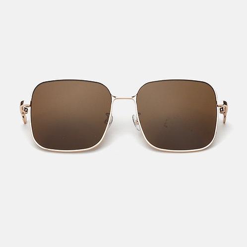 Metal Square Frame- Nylon Lens - Dark Brown