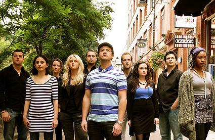 The cast of Laramie Project 10 Years Later. Joe Random, Zoe Iqbal, Katie Collier, Erin Shanagher, Gerry McLauglin, Warren Brown, Matthew Ganley, Nicola Day, Matthew Stead, Lexi Walker