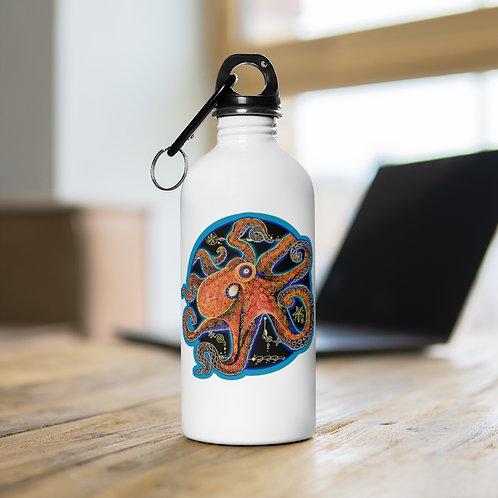 Red Octopus - Steel Water Bottle