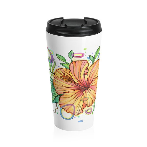 Hibiscus - Steel Travel Mug