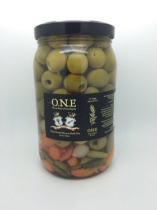 O.N.E Pitted Gordal Olives & Pickle Mix